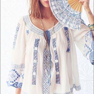 Free People Rare Blue Embroidered Peasant Top S